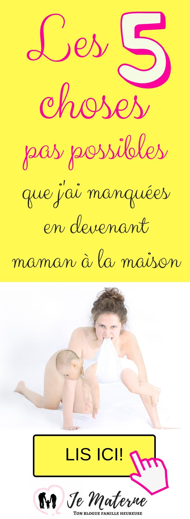 Les 5 choses que j'ai manquées en devenant maman à la maison - à lire absolument sur JeMaterne.com #viedemaman #maman #bébé #enfants https://jematerne.com/2018/09/16/5-choses-pas-possibles-que-jai-manquees-en-devenant-maman-a-la-maison-2/